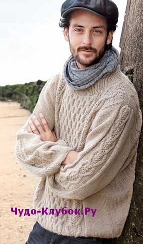 схема Мужской пуловер с косами и вафельным узором вязаный спицами 359