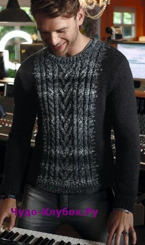 схема Мужской пуловер с меланжевой вставкой с косами вязаный спицами 377