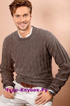 схема Мужской пуловер с рельефным узором вязаный спицами 367