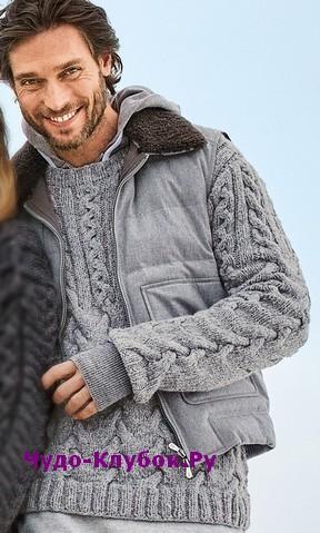 схема Мужской пуловер с сочетанием «кос» вязаный спицами 373