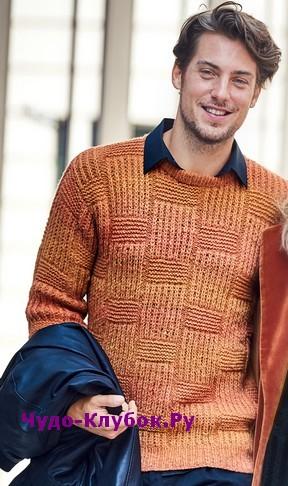 схема Мужской пуловер терракотового цвета вязаный спицами 363