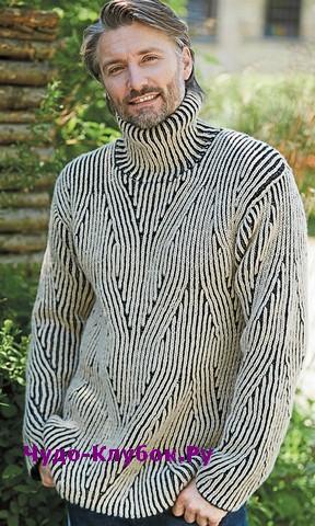 схема Мужской свитер с патентным узором вязаный спицами 365