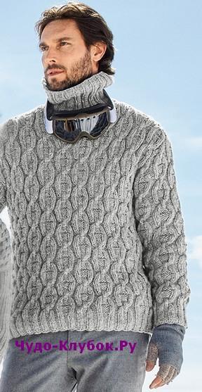 схема Мужской свитер с воротником гольф вязаный спицами 371