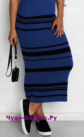 схема Облегающая юбка-макси вязаная спицами 156