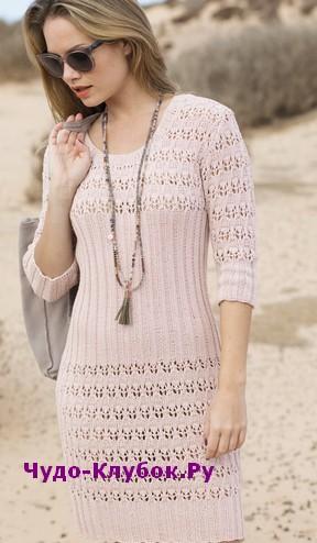 схема Платье с ажурными полосами вязаное спицами 811