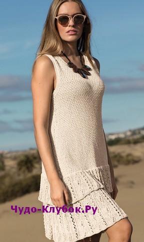 схема Платье с каскадом оборок вязаное спицами и крючком 812