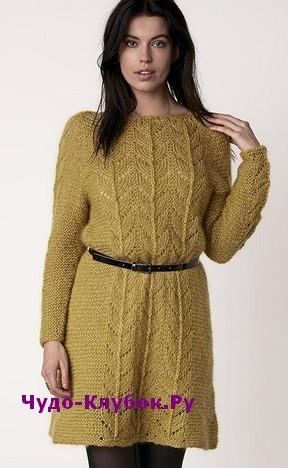схема Платье с вырезом-капелькой вязаное спицами и крючком 805