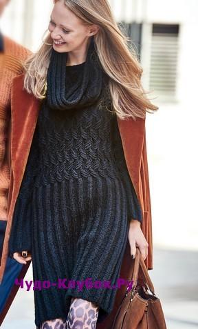 фото Платье со съемным воротником вязаное спицами 801