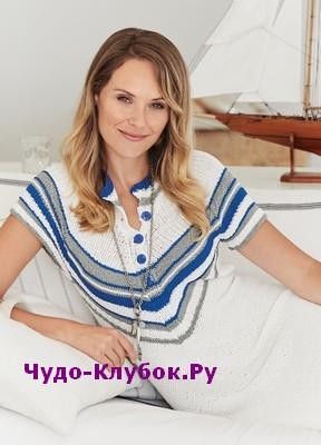 схема Платье в морском стиле вязаное спицами 806