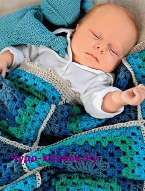 схема Покрывало для малыша из квадратов вязаное крючком 147