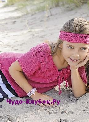 схема Пуловер для девочки с широким вырезом вязаный спицами 121
