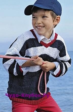 схема Пуловер для мальчика вязаный спицами 119