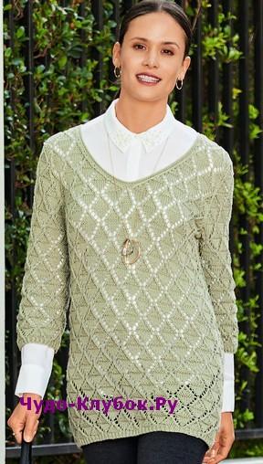 схема Пуловер с ажурными ромбами вязаный спицами 1816