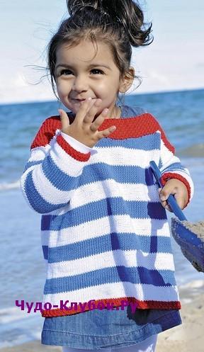 схема Расклешенный пуловер в морском стиле вязаный спицами 118