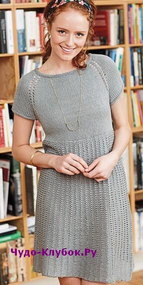 схема Серое платье вязаное спицами 814