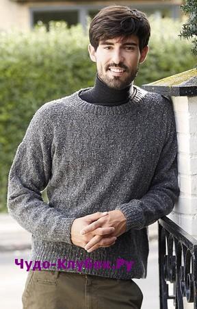 схема Серый мужской пуловер с ромбовидным узором вязаный спицами 370