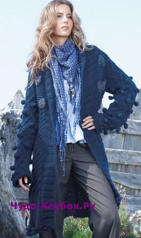 схема Синее пальто с шишечками вязаное спицами и крючком 153