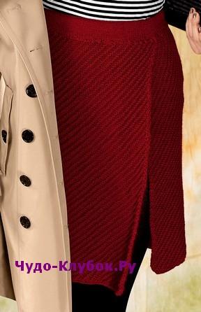 схема Юбка винно-красного цвета с разрезом вязаная спицами 160