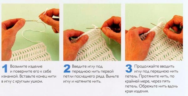 схема как спрятать концы нити на верху