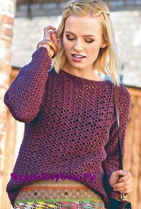 схема Ажурный пуловер вязаный крючком 1842
