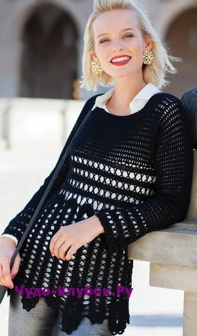 схема Черный пуловер из брюггского кружева вязаный крючком 1850