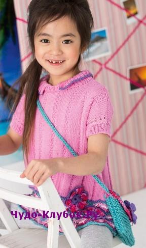 схема Детская туника с ажурными цветами вязаная спицами и крючком 61