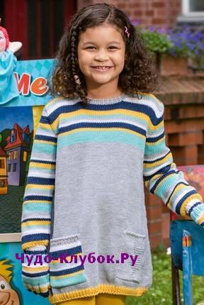 схема Детское платье свободного покроя вязаное спицами 57