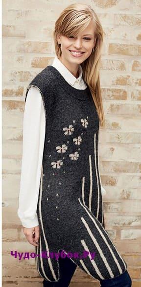 схема Двустороннее платье с цветами вязаное спицами 839