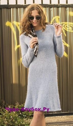 схема Элегантное платье с рукавами-реглан вязаное спицами 818