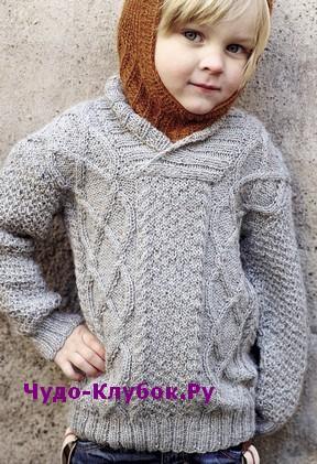 схема Классический детский пуловер вязаный спицами 122