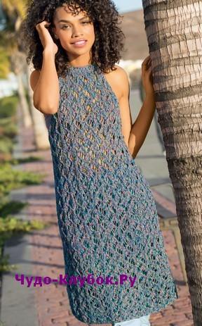 схема Летнее платье без рукавов вязаное спицами и крючком 838