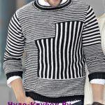 Muzhskoj pulover s originalnym uzorom vyazanyj spitsami 395