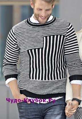 схема Мужской пуловер с оригинальным узором вязаный спицами 395