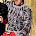 Muzhskoj pulover v kletku vyazanyj spitsami 394