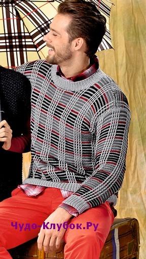 схема Мужской пуловер в клетку вязаный спицами 394