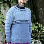 Muzhskoy pulover s lozhnoy rezinkoy vyazanyiy spitsami 388