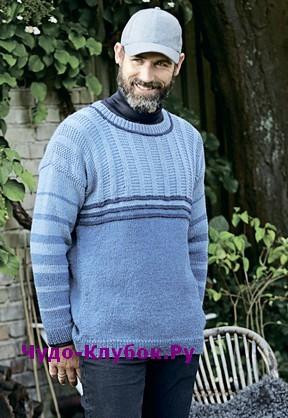 схема Мужской пуловер с ложной резинкой вязаный спицами 388
