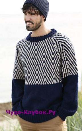 схема Мужской пуловер с зигзагообразным узором вязаный спицами 385