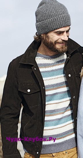 схема Мужской пуловер в разноцветную полоску вязаный спицами 378