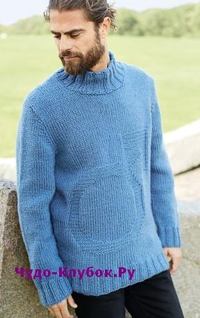 схема Мужской свитер с символом мужского начала вязаный спицами 379