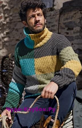 схема Мужской свитер в стиле колор-блок вязаный спицами 380