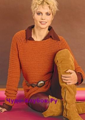 схема Оранжевый пуловер вязаный крючком 1839