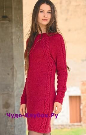 схема Платье-футляр с вертикальными косами вязаное спицами 841
