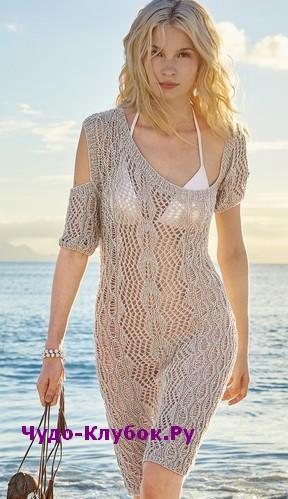 схема Платье с асимметричным верхом вязаное спицами 820