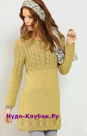 схема Платье с сочетанием узоров вязаное спицами 840