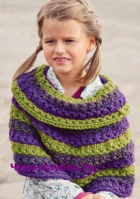 схема Пончо в полоску для девочки вязаное спицами 14
