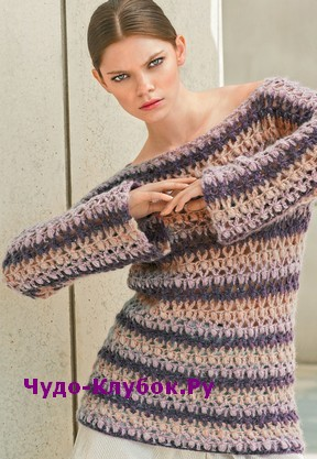 схема Прямой пуловер вязаный крючком 1845