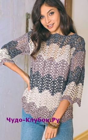 Пуловер с волнистым узором вязаный крючком 1846