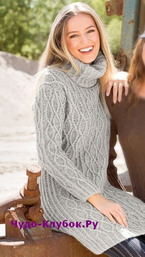 схема Теплое платье с воротником-гольф вязаное спицами 834