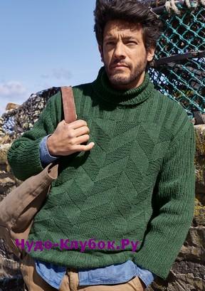 схема Зеленый мужской свитер связанный спицами 383